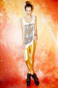 Mr. Gugu & Miss Go Gold Disco Leggings Disco Theme, Skin Tight, Brand You, Wonder Woman, Superhero, Cute, Leggings, Clothes, Fictional Characters
