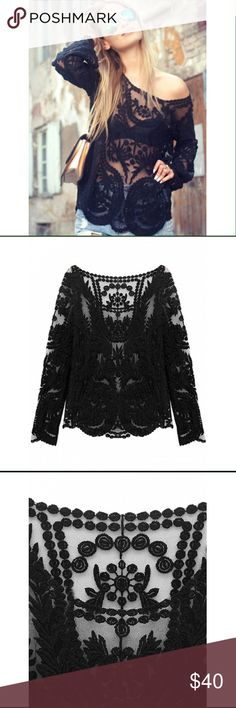 Lace Blouse  Lace Blouse, long sleeve... Black comes in One Size. Beautiful detail  Nasty Gal Tops Blouses