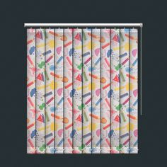 Funky Kids Drawings and Pencils Design Vertical Blind