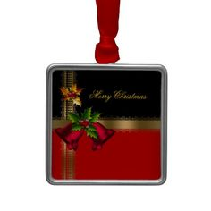 Merry Christmas Holiday Red Bells Black Gold Christmas Tree Ornament