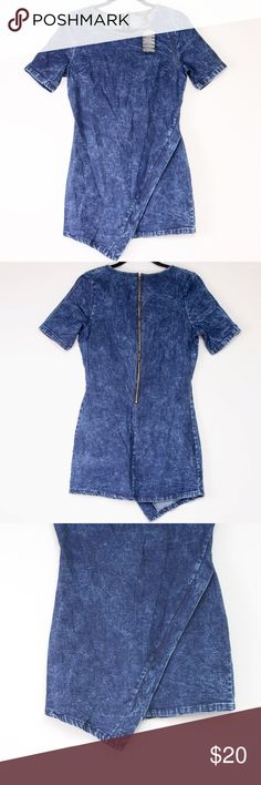 F21 Acid Wash Dress Size S Never worn. NWT Jean/Acid wash with asymmetrical bottom. Forever 21 Dresses