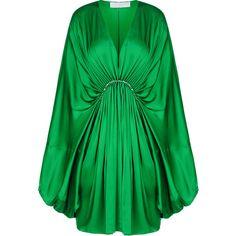 Stella McCartney Etta Dress ($1,925) ❤ liked on Polyvore featuring dresses, green, stella mccartney, bell sleeve dress, green dress, stella mccartney dresses and long sleeve dress