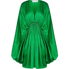 Stella McCartney Etta Dress ($1,945) ❤ liked on Polyvore featuring dresses, green, bell sleeve dress, long bell sleeve dress, ruched waist dress, green long sleeve dress and stella mccartney dresses