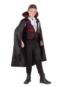 Disfraz de emperador vampiro niño Halloween: Este disfraz de conde vampiro para niño incluye camiseta, pantalón y capa (zapatos no incluidos).La camiseta es de manga larga de color blanco.El busto es negro y rojo y simula un...
