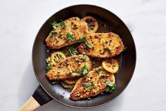 Chicken Piccata | Easy for a weeknight but fancy enough for company, this classic Italian dish has proved a favorite year after year. The recipe uses half as much oil as traditional versions. The sauce picks up every bit of the delicious browned bits left in the pan and is just the right amount of lemony. The dish is versatile enough to go with many sides, such as whole-grain angel hair pasta, roasted vegetables, mashed potatoes, or whole-wheat couscous.