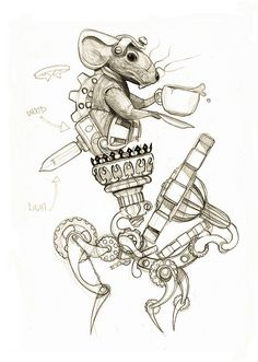 Early sketch on Dormouse. Steampunk Coffee, Steampunk Drawing, Steampunk Couture, Mouse Tattoos, Steampunk Cosplay, Colouring Pages, Coloring, Medium Art, Animal Drawings