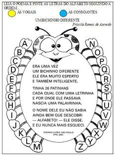 poema alfabeto - Pesquisa Google Creative Arts And Crafts, Back To School, Alphabet, Activities, Writing, Reading, Bingo, Nova, Preschool Literacy Activities