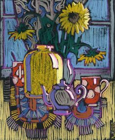 Still life with sunflowers, cups of tea and teapots. Chalk Pastel Art, Oil Pastel Art, Chalk Pastels, Oil Pastel Drawings, Pastel Paper, Oil Pastels, Art Drawings, Principles Of Art, Pen And Watercolor