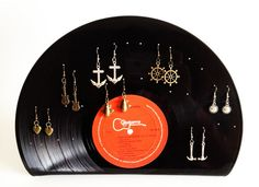 Vinyl Earrings Holder Jewelry Upcycled Recycled Vinyl Record LP 15 pairs Earrings Holder Unique Music DJ Retro Vintage Handmade