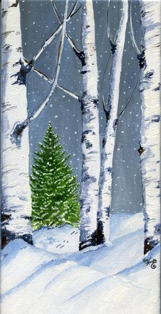 Aspen Trees and Evergreen 5 x 10 inch acrylic painting on canvas