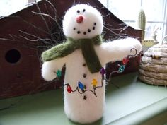 Primitive Winter Snowman Needle Felted by FullyFleecedEwe on Etsy