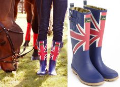 Joules Union Jack wellies in an equestrian setting = we love! #equestrian #fashion #british