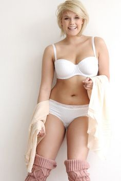 plus size model Fine Bauer and her curves in white lingerie.... this is my ideal body type! I think she looks perfect!