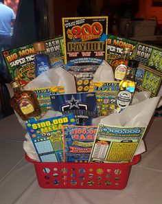 Gift basket with lottery tickets and small liquor bottles ideas. Alcohol Gift Baskets, Diy Gift Baskets, Raffle Baskets, 40th Birthday Gifts, Diy Birthday, Graduation Gifts, Birthday Ideas, Casino Royale, Lottery Ticket Gift