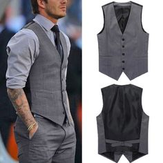 Men Casual Formal Slim Fit Business Waistcoat Grey Dress Vest Jacket Suit Tuxedo in Clothing, Shoes & Accessories, Men's Clothing, Vests