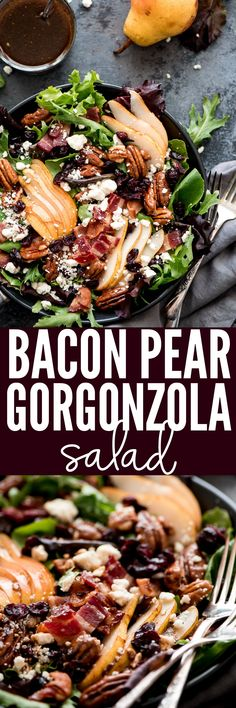 Fit more greens into your diet with this Bacon Pear Gorgonzola Salad. This sweet and savory salad is loaded with all the best toppings and tossed in a balsamic vinaigrette.