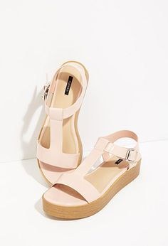 Faux Patent Leather Flatform Sandals $24.90