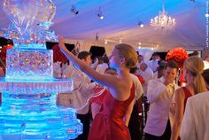 """The Fire and Ice party from """"revenge."""" Red dresses, white suits, red flowers, ice sculptures. YES"""