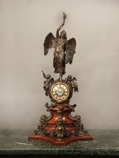 Patinated Bronze, French Champlevé Cloisonné Enamel and Wood Mantle Clock French Clock, Wood Mantle, Mantel Clocks, Antique Clocks, Bronze Sculpture, Belle Epoque, Decorative Objects, Fantasy, Antiques