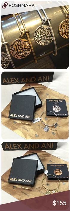 listing for @ 🆕 ALEX AND ANI Aloha Hawaii bracelets  bundle includes 2 silver and 1 gold bracelet, their cards, three retail bags, three boxes and tissue paper.  due to lighting- color of actual item may vary slightly from photos.  please don't hesitate to ask questions. happy POSHing 😊 Alex & Ani Jewelry Bracelets