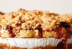 Strawberry Rhubarb Pie with Ginger Crumb Topping from Leite's Culinaria  It's almost time for rhubarb. Yippee!!