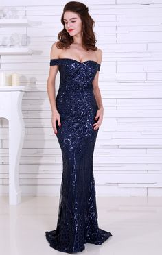 7c6fbe06bc Navy Blue Sequin Evening Gown