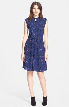 Rebecca Taylor 'Pinwheel Posy' Floral Print Silk Dress available at #Nordstrom
