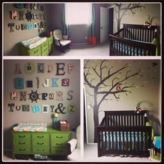 My baby boys nursery! With chevron, owl and striped fabric, hand painted tree w/ an owl and birds, and my alphabet wall I am in love with! In blue, aqua, teal, greens, orange, and brown! Make curtains longer with a DIY no-sew panel! Love, love, LOVE!!!