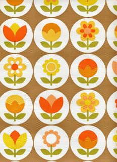 70's kitchen wallpaper--reminds me of the old Imperial Margarine tubs.