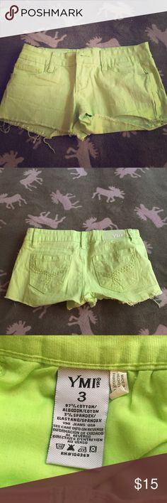 YMI Neon Green Denim Shorts YMI Neon Green Shorts. NEW CONDITION <3 YMI Shorts Jean Shorts