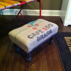 Footstool from old burlap coffee bag