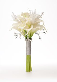 """Gem sprays and white feathers add a bit of """"jazz"""" to our classic Simply Calla bridal bouquet collection.  For Wedding Accessories,visit us.  http://www.bridesadvantage.com"""
