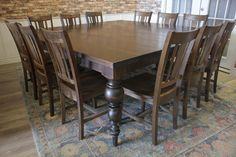 Turned Leg Square Dining Table For 12 by James and James – James+James Square Dining Tables, Dining Chairs, Dining Rooms, 12 Seater Dining Table, Turned Table Legs, Table For 12, Solid Wood Furniture, Diy Furniture, Particle Board