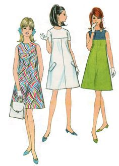 1967 - I had the dress on the right, except the colors were reversed and it had a little green bow where the colors met.