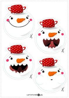 Girlanda z bałwankami - Printoteka.pl Speech Therapy, Autism, Schools, Hello Kitty, Education, Winter, Christmas, Kids, Free