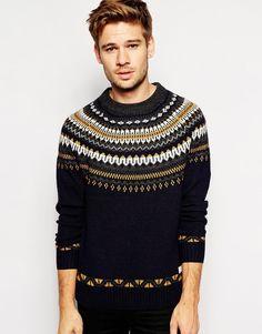 Selected Sweater with Yoke Jacquard