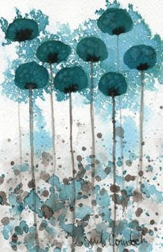 Vibration -- Teal Flowers -- Original Watercolor Painting