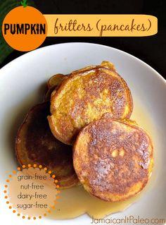 Pumpkin Fritters (Pancakes) PALEO; grain-free, nut-free, dairy-free, sugar-free