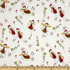 Woodland Fabric Dancing Fairies Flying Fairy on White