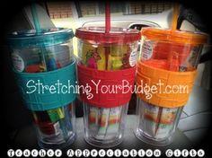 Teacher Appreciation Gift: Reusable Water Cup Filled with Goodies! #teacher #gifts #teacherappreciation