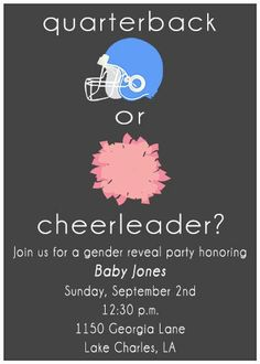 PRINTABLE Quarterback or Cheerleader Gender Reveal Football Invitation Pink vs Blue - baby reveal parties showers during football season. $12.00, via Etsy.