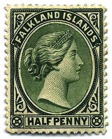 Queen Victoria's profile was a staple on 19th century stamps of the British Empire; here on a half-penny of the Falkland Islands, 1891.