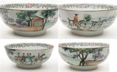 Chinese Porcelain Hunting Punch Bowl  Qianlong Period, third quarter of the 18th century  Of circular form, the exterior painted with a continuous scene of riders and dogs with attendants riding to a hunt in a landscape scene, the interior with floral and fruit garland around rim.