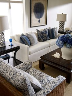Blue & White Living Room!