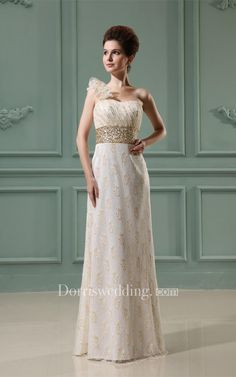 #Valentines #AdoreWe #Dorris Wedding - #Dorris Wedding One-Strap Ruched Sheath Sleeveless Jeweled Waist and Dress With Appliques - AdoreWe.com