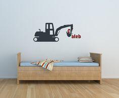 Excavator, Construction, Excavate, Personalize, Custom, Boy, Name,  Decal, Vinyl, Sticker, Wall Art, home, bedroom, nursery, kid's decor