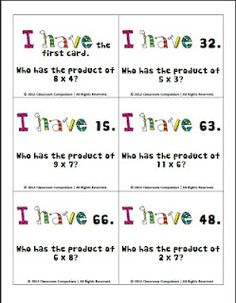 "I like that the math term ""product"" is used here to help re-enforce vocabulary. I need one with division. Prior pinner: FREE Multiplication Facts Review Activity (I have/Who has game)"