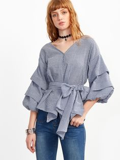 SheIn offers Blue Plaid Layered Lantern Sleeve Bow Tie Waist Blouse & more to fit your fashionable needs. Bow Blouse, Collar Blouse, Outfit Combinations, Blouse Online, Girly Outfits, Blue Plaid, Cute Tops, Casual Looks, Clothes For Women