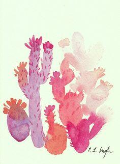 Pink Cactus Art Original Watercolor Painting by GrowCreativeShop