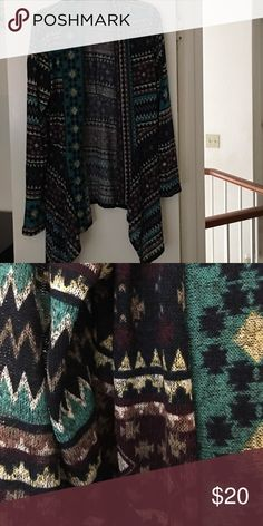 Lightweight sweater Lightweight Aztec print open front sweater. Never worn Sweaters Shrugs & Ponchos
